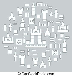 Cute vector illustration with children's designer arranged in a circle.