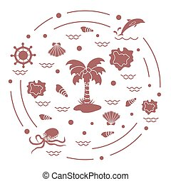 Cute vector illustration with different objects related to tourism and outdoor recreation arranged in a circle.