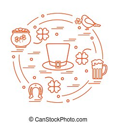 Cute vector illustration with different symbols for St. Patrick's Day arranged in a circle.