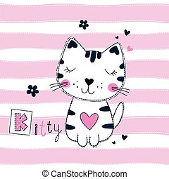 Cute vector illustration with funny cat for kids design -...