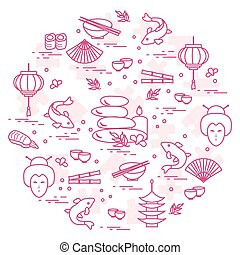 Cute vector illustration with japanese woman face, lantern, bowl, chopsticks, sushi and other arranged in a circle.