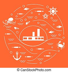 Cute vector illustration with ship, octopus, fish, anchor, helm, waves, seashells, starfish, crab arranged in a circle.