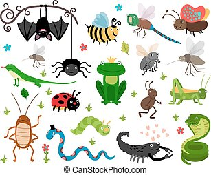 Cute vector insects, reptiles. Bee, grasshopper, lizard and...
