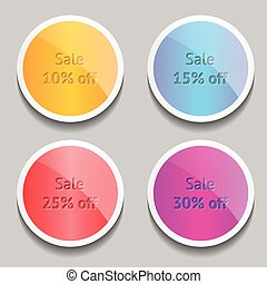 Cute vector labels with shine and shadow