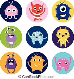Cute vector monster stickers or labels, colorful circles with fun animal characters