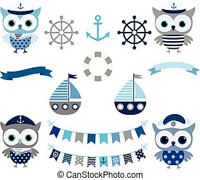 Cute vector nautical set with sailor owl birds, buntings and boats in grey and blue colors for baby boy designs and scrapbooking