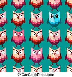 Cute vector owl pattern