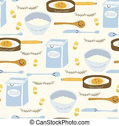 Cute vector pancake day breakfast recipe llustration. Seamless repeating pattern.