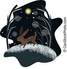 Cute vector rabbit illustration