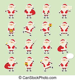 Cute vector Santa Claus paper sticker icon set in flat style, christmas collection, xmas and New year 2019 character in different poses. Funny Santa with different emotions. Design template for graphics