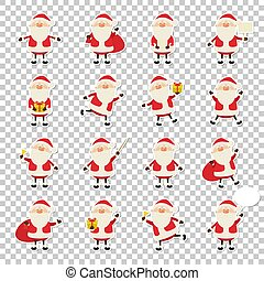 Cute vector Santa Claus paper sticker icon set in flat style isolated on transparency grid background, christmas collection, xmas and New year 2019 character in different poses. Funny Santa with different emotions. Design template for graphics