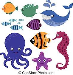 Cute vector sea creatures. Cartoon smiling animals