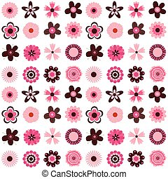 Cute vector seamless pattern design with flower decorative elements in pink and brown colors for greeting cards, invitation and paper wrapping