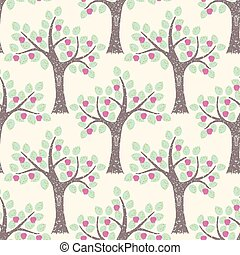 Cute vector seamless pattern with apple trees.