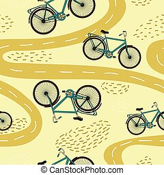 Cute vector seamless pattern with bicycles and paths.