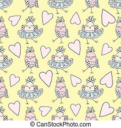 Cute vector seamless pattern with birds and heart on yellow background.
