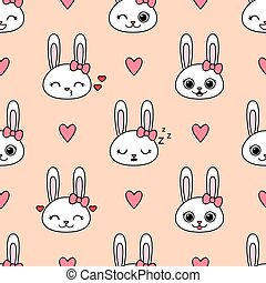 Cute vector seamless pattern with bunnies
