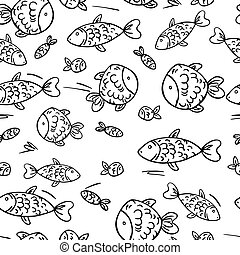 Cute vector seamless pattern with fish.