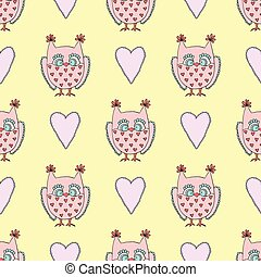 Cute vector seamless pattern with owls and heart on yellow background.