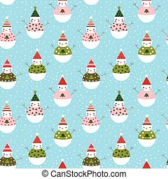 Cute vector seamless pattern with snowmen with hats for...