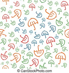 Cute vector seamless pattern with umbrellas