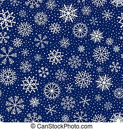 Cute vector seamless pattern with white snowflakes on dark blue background for winter and Christmas graphic design projects