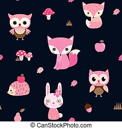 Cute vector seamless pattern with woodland animal characters in pink colors - owl, fox hedgehog and bunny