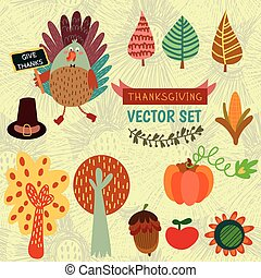 Cute vector set of colorful cartoon icons Thanksgiving day.