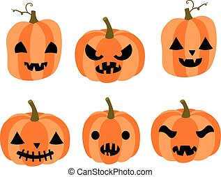 Cute vector set with cartoon carved pumpkins with faces with different expressions for Halloween invitations and backgrounds