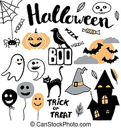 Cute vector set with Halloween illustrations