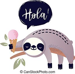 Cute vector sloth bear animal says Hola - Cute vector sloth ...