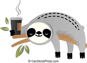 Cute vector sloth bear animal with a cup of coffee
