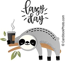 Cute vector sloth bear animal with coffee