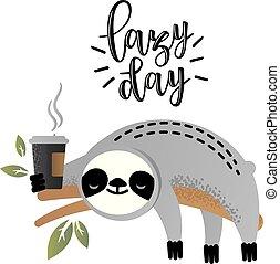 Cute vector sloth bear animal with coffee