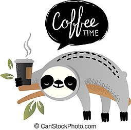 Cute vector sloth bear animal with coffee time lettering.