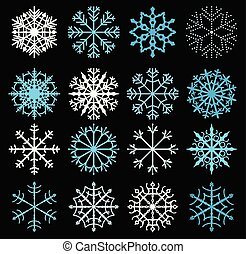 Cute vector snowflakes in blue and white color on dark background for Christmas and winter designs