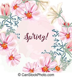 Cute vector spring illustration with pink cosmos flowers.eps