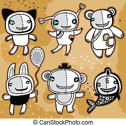 Cute vector toys animals on old background