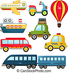 Cute Vector Illustration Cartoon Transportation set on white background