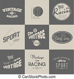 Cute Vector Vintage car racing badges set