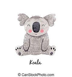 Cute vector watercolor australian baby koala bear illustration for children print