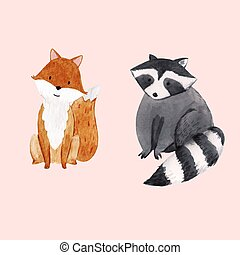 Cute vector watercolor baby raccoon and fox illustration for children print