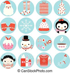 Cute vector winter round icons with Christmas symbols in blue circles for stickers