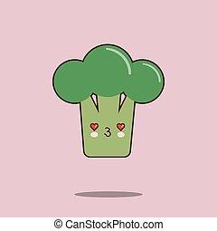 Cute vegetable cartoon character Broccoli icon kawaii Smiling face. Flat design Vector Illustration