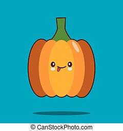 Cute vegetable cartoon character pumpkin icon kawaii Smiling face. Flat design Vector Illustration