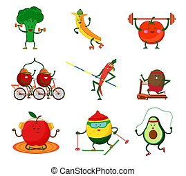 Cute vegetables and fruits doing sports