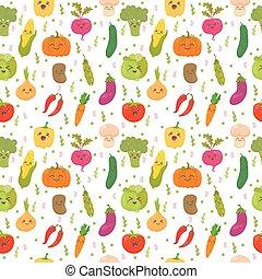cute, vegetables., engraçado, padrão, legumes, seamless, experiência., feliz