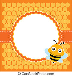 cute, vektor, illustration., bee.