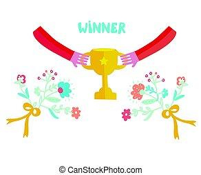 cute, vencedor, desenho, ilustração, copo