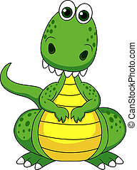 cute, verde, caricatura, dinossauro
